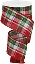 EXPRESSIONS Plaid Christmas Ribbon: Checkered Red Emerald Green White Fuzzy 2.5 Inches X 10 Yards