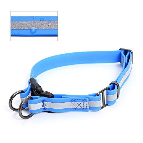 """Mile High Life Hundehalsband, wasserfest, reflektierend, geruchsabweisend, kaubeständig, Robustes und Flexibles TPU (Thermoplastisches Polyurethan) 3 Farben, Medium Neck 13""""-17"""" -40 lb, blau"""