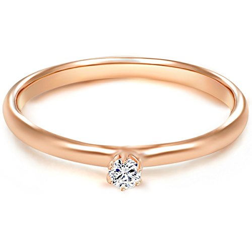 Tresor 1934 Damen-Ring/Verlobungsring/Solitärring Sterling Silber rosévergoldet Zirkonia weiß 60451006