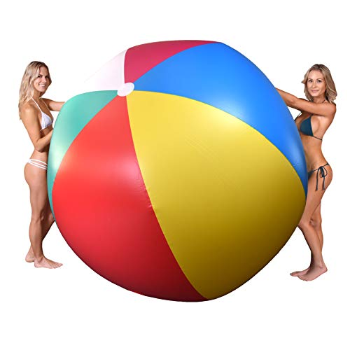 GoFloats 6' Giant Inflatable Beach Ball, Extra Large Jumbo Beach Ball - Patch Kit Included (GI-BEACHBALL-6-01)