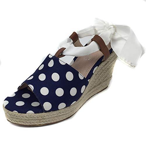 MARIA MARE 67431, Sandalia con cuña para Mujer, C45329 (Polka Navy) (38 EU, Azul)