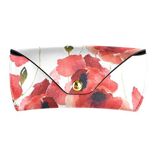 XiangHeFu PU-Leder-Schutzbrillen-Beutel Multiuse stilisierter Mohnblumen-Brillen-Beutel-nette Sonnenbrille-Kasten Portable