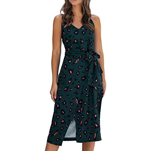XOXSION Vestido bohemio para mujer, con estampado de leopardo, para vacaciones, cuello en V, sin mangas, camisola dividida hasta la rodilla