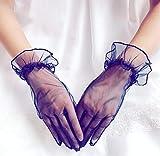 GBSTA Guantes De Boda Guantes de Malla Elegantes de Color Blanco para Mujer Guantes de Encaje Transparente para Mujer Primavera Verano Protector Solar,Azul Marino