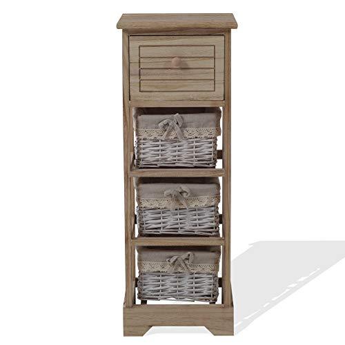 Rebecca Mobili Beistellschrank Kommode Badezimmer 1 Schublade 3 Körbe Holz Hellbraun Country Küche Wohneinrichtung - 81 x 30 x 27 cm (H x B x T) - Art. RE6106