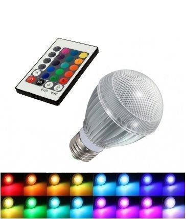 Wiz' Store - Bombilla LED RGB con 16 colores diferentes de luz (incluye mando a distancia, E27)