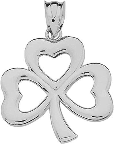 LKLFC Collar para Mujer Collar para Hombre Colgante Collar con Colgante de trébol irlandés con trébol de Tres Hojas Collar con Colgante de Plata de Ley 925 Regalo para niñas y niños