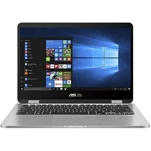 New ASUS VivoBook 2 in 1 Flip 14' FHD LCD Touchscreen Laptop Computer, Intel Pentium N5000 up to 2.7GHz, 4GB LPDDR4, 64GB eMMC, Bluetooth, Webcam, Micro HDMI, Fingerprint Reader, Window 10 in S Mode