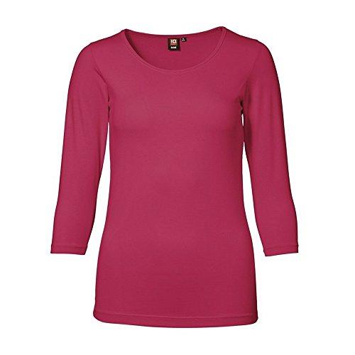 ID Damen Stretch T-Shirt   3/4-Arm (M, cerise)