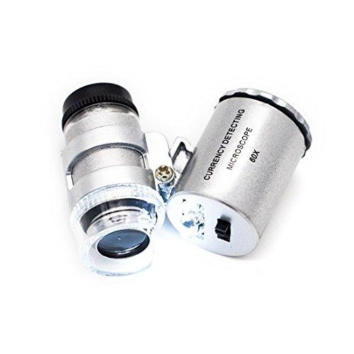 JLERU Microscopio LED Mini 60X joyería Lupa Iluminada Lentes Aumentos Luz UV A Pilas Monóculo