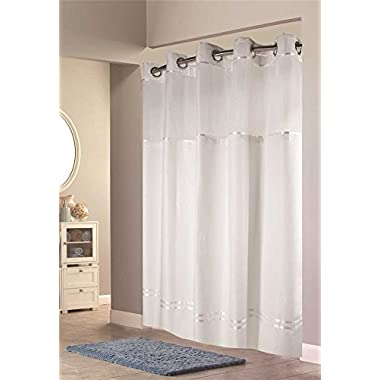Hookless Escape Shower Curtain, With Snap in Liner, White With White Stripe, 71 in. X 74 in.