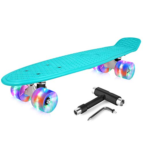 BELEEV Skateboard 22 inch Complete Mini Cruiser Retro Skateboard for Kids Teens Adults, LED Light up Wheels with All-in-One Skate T-Tool for Beginners (Teal)
