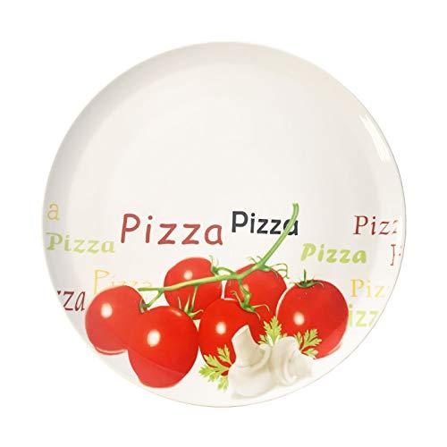 Acan Plato Pizza 30.5 X 2 cm con Dibujo Vegetal y Frase Pizza