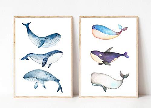 Din A4 Kunstdruck ungerahmt 2-teilig - Wal Blauwal Orca Pottwal Meerestier Ozean Maritim Aquarell, blau Deko, Badezimmer Geschenk Druck Poster Bild