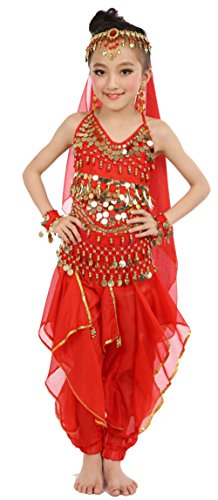Cielary Kids Girls Belly Dance Halter Top Harem Pants Costume Set Halloween Outfit with Head Veil Waist Chain and Bracelets(Red,L)