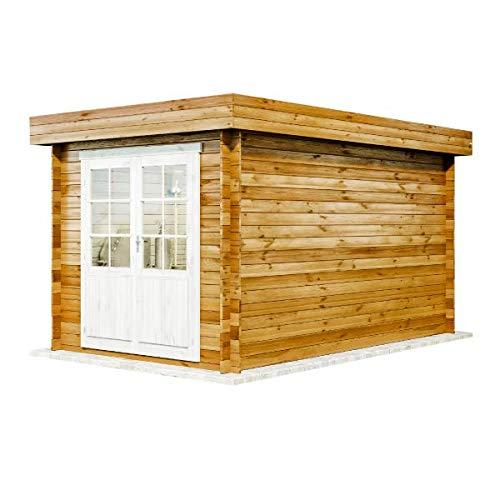 Alpholz Gartenhaus Cuxhaven-28 C aus Massiv-holz | Gerätehaus mit 28 mm Wandstärke | Garten Holzhaus inklusive Montagematerial | Geräteschuppen Größe: 250 x 400 cm | Flachdach