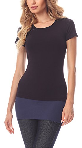 Merry Style Damen Verlängerungsgurt für Hemden T-Shirts MS10-202 (Dunkelblau, L)