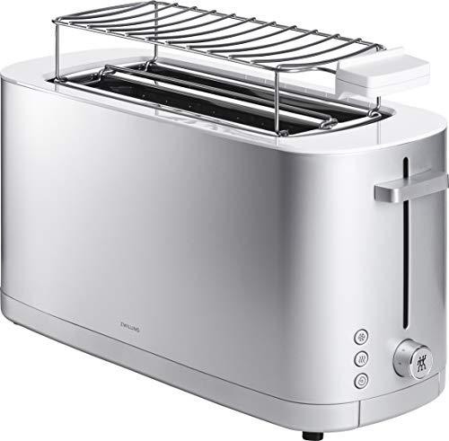 ZWILLING Enfinigy Toaster mit 2 langen Schlitzen, 1.800 Watt, abnehmbarer Brötchenaufsatz und herausnehmbarer Krümelschublade, Silber
