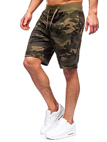 BOLF Uomo Pantaloni Sportivi Corti da Uomo Bermuda da Allenamento da Calcio Fitness Corti Sportivi Sportivi Elasticizzati Tempo Libero Street Style K10036 Khaki XXL [7G7]
