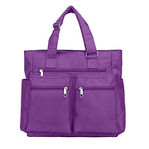 Canvas Tote Bag Waterproof Nylon Multi Pocket Shoulder Bags Laptop Work Bag Teacher Purse and Handbags for Women & Men (Purple-new)