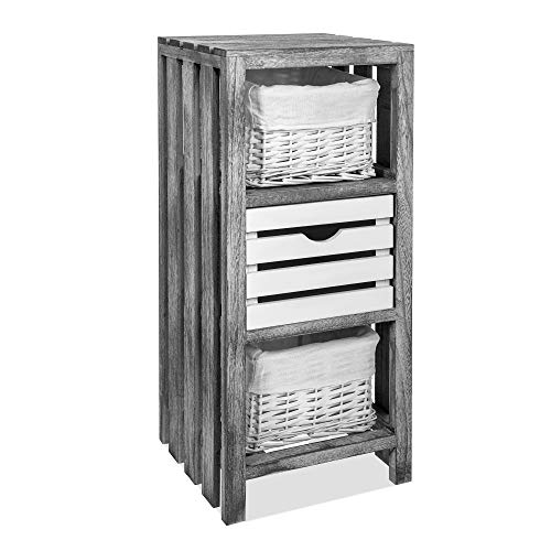 Fineway. Vesta Traditional Wooden Crate Bedside Cabinet Unit Table with 1 Wicker Basket & 2 Drawers Storage Bathroom Organiser – Fully Assembled - Grey