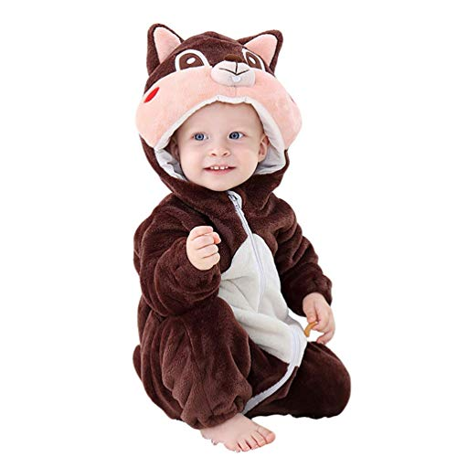 YOUJIAA Bebé Animal Mameluco Peleles Manga Larga Mono de Franela Cremallera Pijama con Capucha para Niños Niñas (Marrón Ardilla, 70)