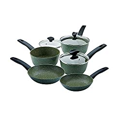 PLANT BASED NON STICK - This eco cookware set is equipped with the world's friendliest non stick It is scratch free easy to clean and requires less oil for healthier meals RECYCLED AND RECYCLABLE - This cookware set non stick is recycled and fully re...