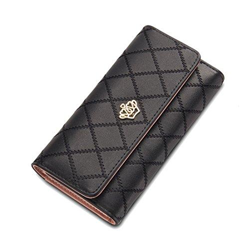 DNFC Geldbörse Damen Portemonnaie Lang Portmonee Schicke Handtasche PU Leder Geldtasche mit Vielen Kartenfächern Geldbeutel für Frauen (Schwarz)