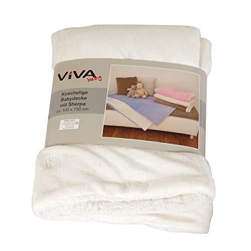 Viva Living Kuscheldecke Farbe wählbar Babydecke 100x150cm zweifarbig Polyester Decke Baby, Farbe:Creme
