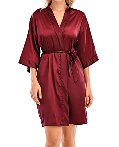Yuson Girl Kimono da Donna Pigiama Abito da Sposa con Scollo a V Accappatoio Corto in Raso Accappatoio Camicia da Notte in Raso con Cintura per Home Hotel Spa(Vino Rosso, XL)