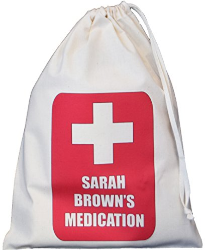 Personalised - Medication Storage Bag - RED CROSS - Small Natural Cotton Drawstring Bag - SUPPLIED EMPTY