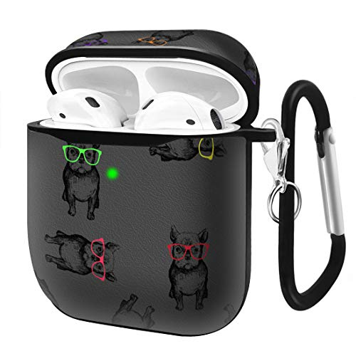 Slim Form Fitted Printing Pattern Cover Case with Carabiner Compatible with Airpods 1 and AirPods 2 / Funny French Bulldogs Wearing Glasses