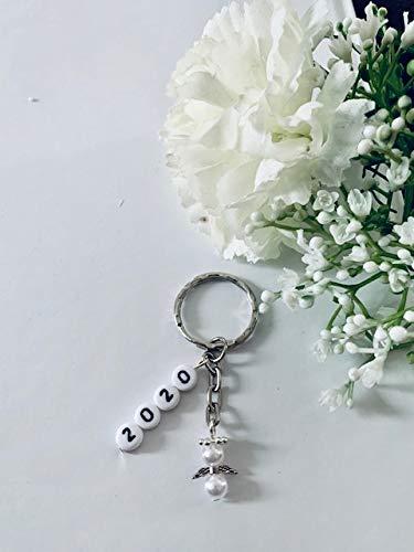 Silvesterengel, Glücksbringer für Silvester Schlüsselanhänger mit 2020 und Schutzengel (Nr. 1 weiß glänzend)