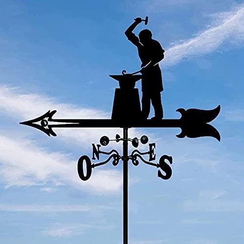 Guomipai Tiempo Casa de Vane, Techos Decorativos Yardos Herramientas de medición Dirección del Viento Indicador Craft Retro Jardín Estaca Arte Decoración Regalos - Silueta de herrería