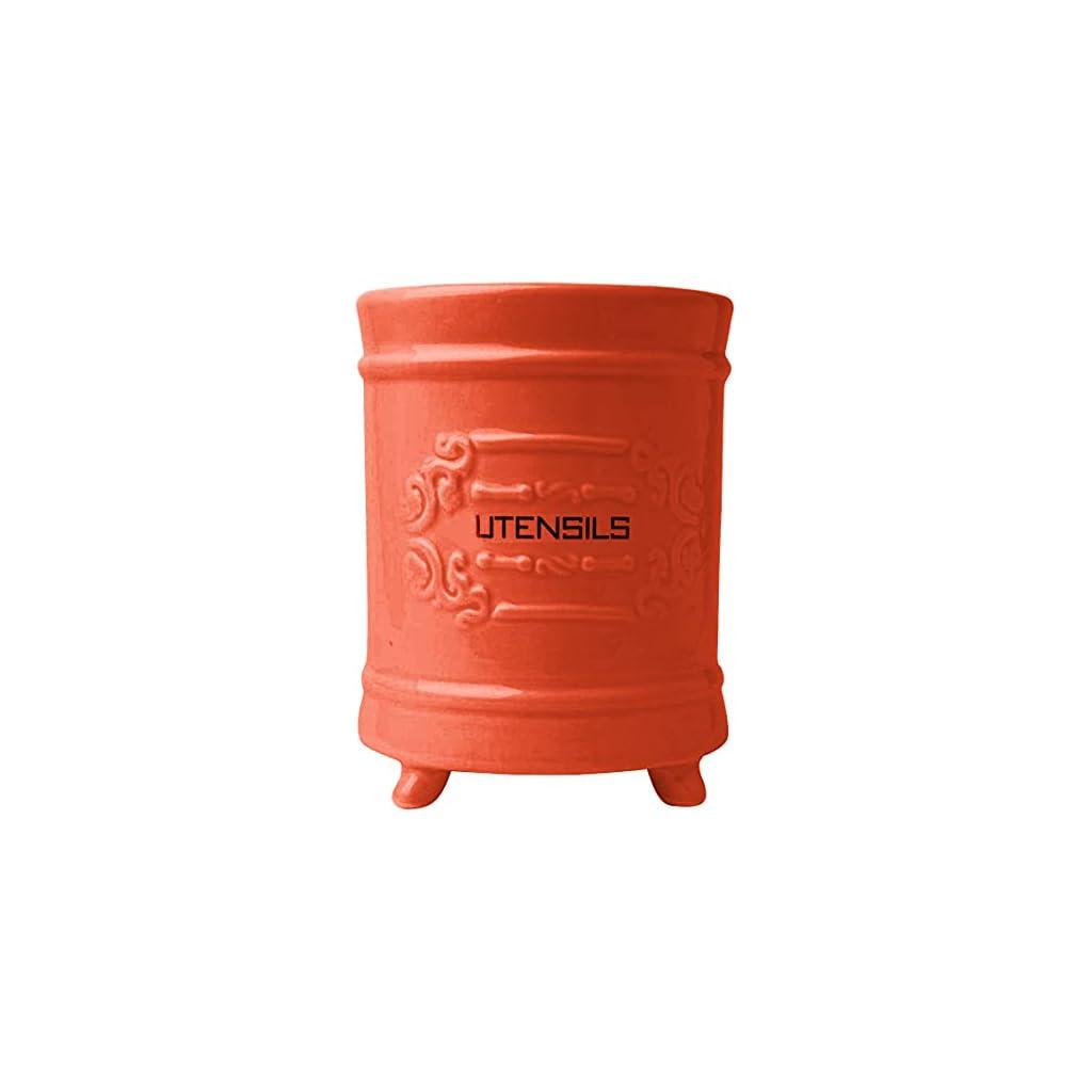 Comfify French Ceramic Utensil Holder - Coral