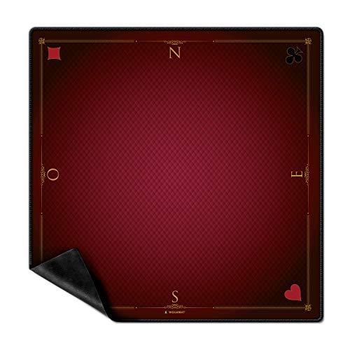 WOGAMAT - Tapis Jeux de Carte Prestige Rouge - Glisse Exceptionnelle Qualité Professionnelle - Neoprene - Antiderapant - Belote - Poker - Tarot - de 2 à 4 Joueurs - Dimension 60 * 60 cm