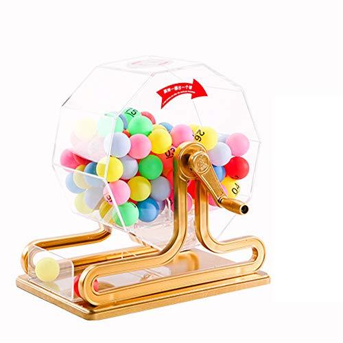 FU LIAN Máquina de lotería Dibujada a Mano con 100 Bolas incoloras, Mano de Obra Fina, Material acrílico, Adecuado para centros comerciales, lotería Corporativa, clasificación de licitación