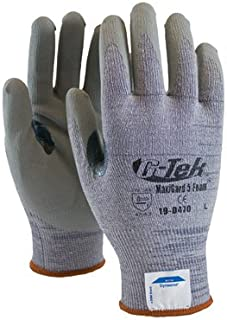 Protective Industrial Products® Large MaxiCut® 5 By ATG® Medium Weight Cut Resistant Gray Micro-Foam Nitrile Palm And Fingertip Coated Work Gloves With Gray Seamless Dyneema®, Lycra® And Glass Liner , Continuous Knit Cuff And Reinforced Thumb Crotch