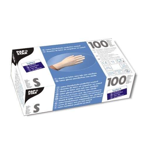 PAPSTAR Einweghandschuhe Latex S ungepudert Weiß 100 Stück