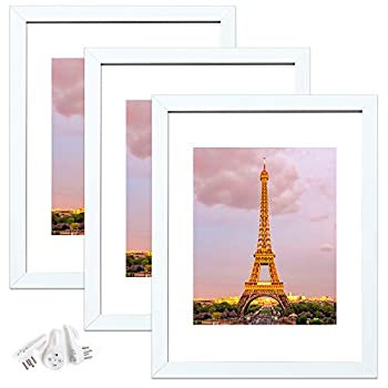 upsimples 11x14 Picture Frame Set of 3,Made of High Definition Glass for 8x10 with Mat or 11x14 Without Mat,Wall Mounting Photo Frame White
