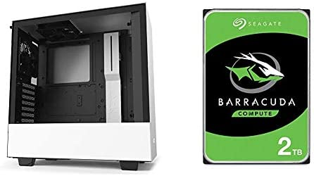 NZXT H510 CA H510B W1 Compact ATX Mid Tower PC Gaming Case White Black Seagate BarraCuda 2TB product image