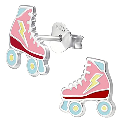 miimago Kinder Ohrringe Rollschuhe 925 Sterling Silber rosa pink Mädchen Ohrstecker Skater Schmuckgeschenk