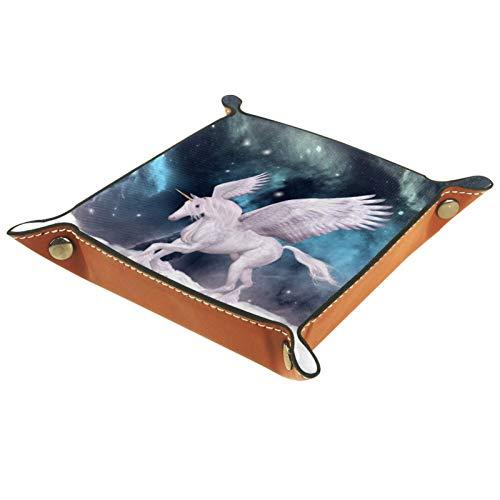 LynnsGraceland Tablett Leder,Pegasus,Leder Münzen Tablettschlüssel für Schmuck,Telefon,Uhren,Süßigkeiten,Catchall-Tablett für Männer & Frauen Großes Geschenk