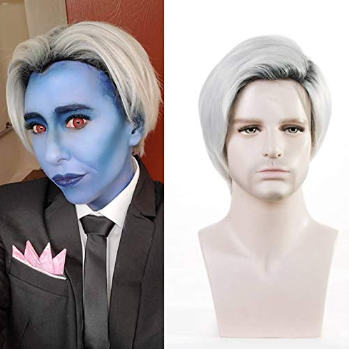 TopWigy Men Wigs Short Straight White Wig Dark Roots Male Wig Short Hair Replacement Guy Synthetic Costume Cosplay Anime Party Hair Wigs
