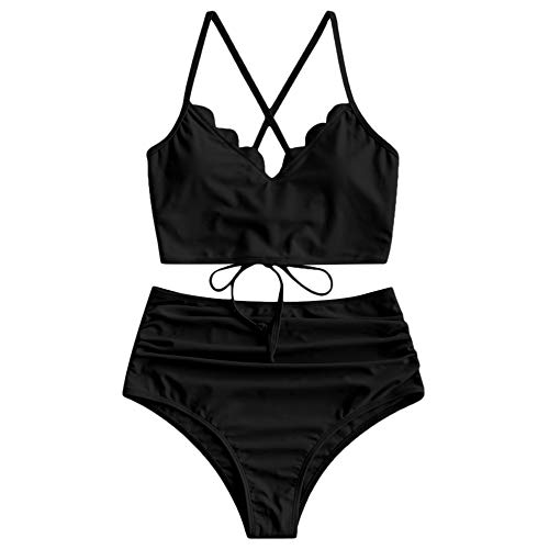 ZAFUL Traje de baño para mujer con tirantes finos, con cordones y cintura alta. Negro L