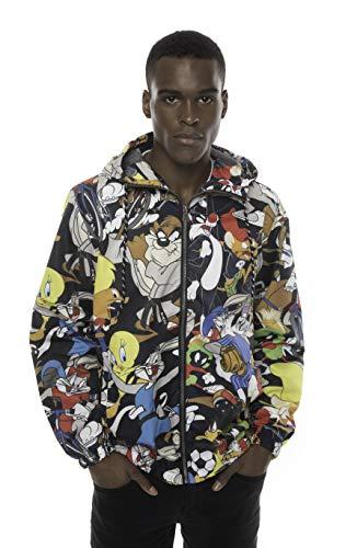 Members Only Looney Tunes Print Jackets for Men Casual, Windbreaker Men, Full Zip Pullover Hooded Jacket (Black, L)