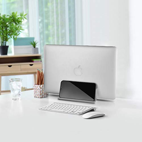 Vertikaler Laptop Ständer, Verstellbarer Vertikalen Laptopständer Platzsparender StänderTischständer, Aluminium Legierungs Standplatz Kompatibel iPad Pro/MacBook Air/Pro/Surface Pro,Silber