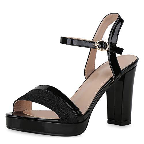 SCARPE VITA Damen High Heels Sandaletten Metallic Party Absatzschuhe Glitzer Blockabsatz Schuhe Lack Plateau 191529 Schwarz Schwarz 39