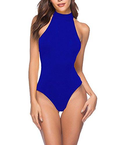 Mujer Body Monos Sin Mangas Cómodo Vendaje Slim Fit Cabestro Bodysuit Color Sólido Fiesta Tops Azul 1 S