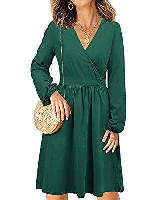 STYLEWORD Women's V Neck Long Sleeve Casual Party Midi Dress with Pockets
